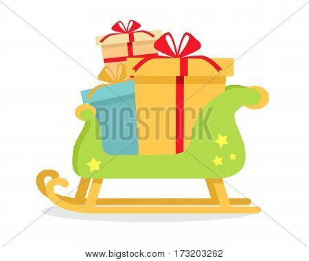 Christmas presents on sledge on isolated on white background. Toboggan with gift boxes. New Year and Xmas concept. Sleigh carrying cadeaus. Gift box present, ribbon and bow. Vector illustration