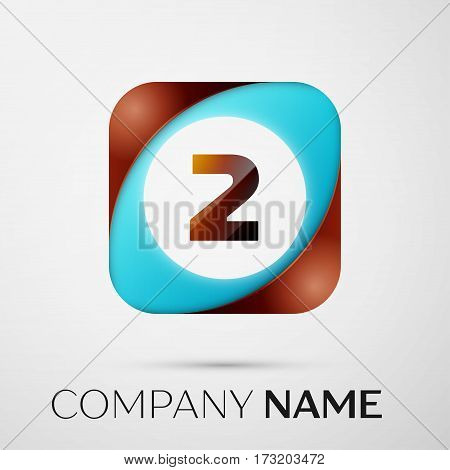 Number two vector logo symbol in the colorful square on grey background. Vector template for your design