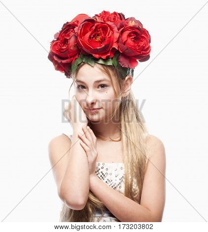 Portrait of a Girl with Blond Hair and Flower Arrangement on Head