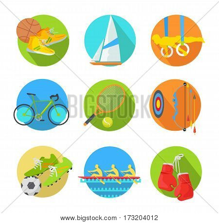 Sport icon set. Basketball, gymnastics, cycling, surfing, tennis, archery, football, rowing, boxing inventory, wear, athlete flat vector illustration isolated on white. For game, store app, web design