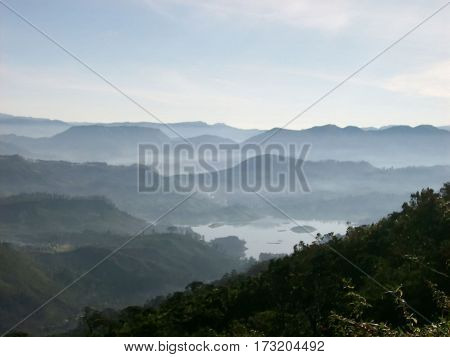 Photography of a mountain and forest landscape