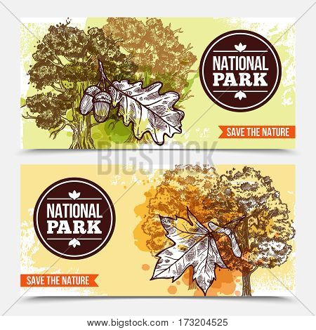 Horizontal national park banners with sketch deciduous trees and leaves isolated on grey background vector illustration