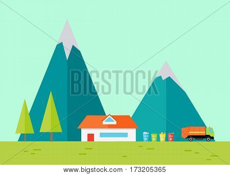 Mountain ridge with house, recycle waste bins and garbage truck. View of blue mountains with house. Mountains landscape, abstract blue panoramic view. Nature background. Vector illustration