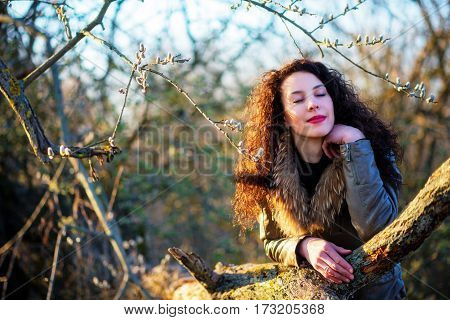 Beautiful Girl Leaned On A Tree, Autumn