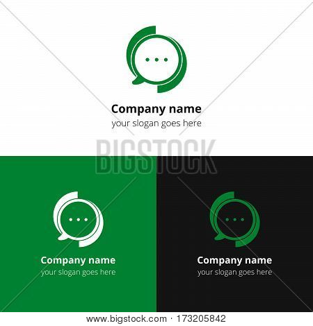 Chat, talking, discussion, conversation, social, messenger, dialog vector logo. Green flat logo, icon, sign, emblem vector template. Abstract symbol and button for community  or service.