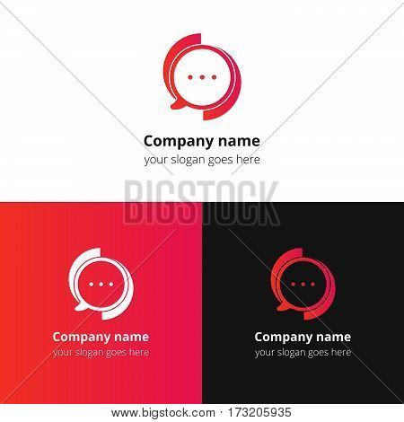 Chat, talking, discussion, conversation, social, messenger, dialogues vector logo. Red gradient color logo, icon, sign, emblem vector template. Abstract symbol and button for community or service.
