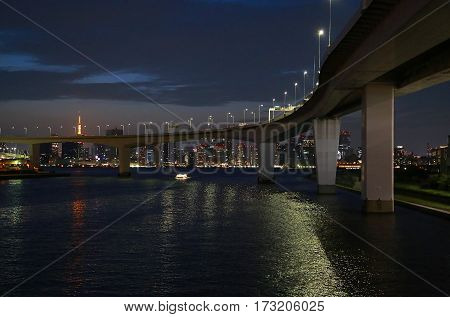 Night view of Tokyo Bay and bridge of Japan