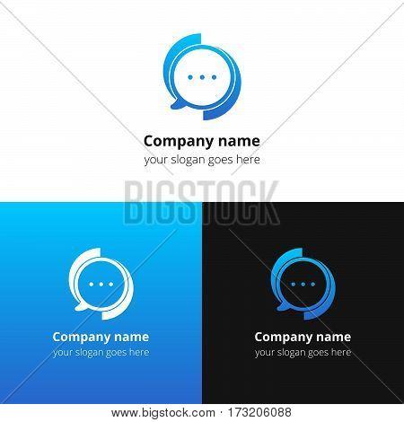 Chat, talking, discussion, social, conversation, messenger, dialog vector logo. Blue gradient color logo, icon, sign, emblem vector template. Abstract symbol and button for community or service.