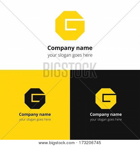 Letter G logo. Alphabet logotype vector design. Yellow color concept G hexagon infinity loop shape. Creative vision concept logo or icon template for company, web site, banners, cards, covers, poster.