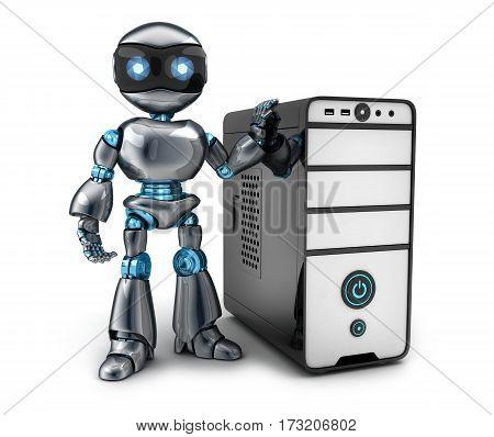 Black robot and modern computer. 3d illustration