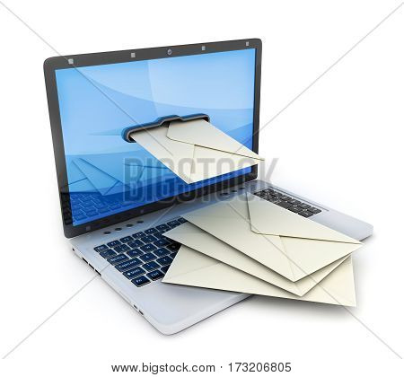 Laptop and abstract e-mail on white background. 3d illustration