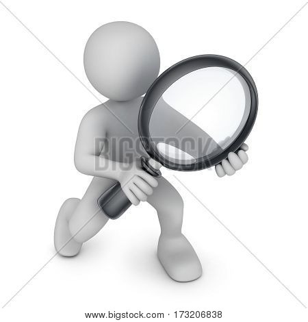 Abstract white man and lens. 3d illustration