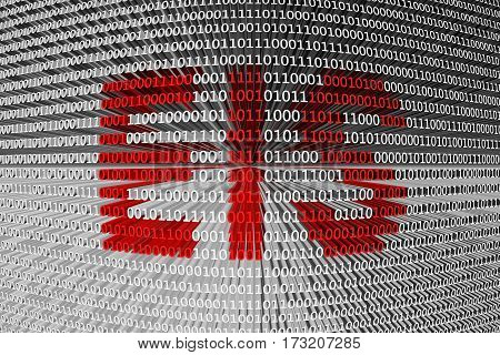 eis in the form of binary code, 3D illustration