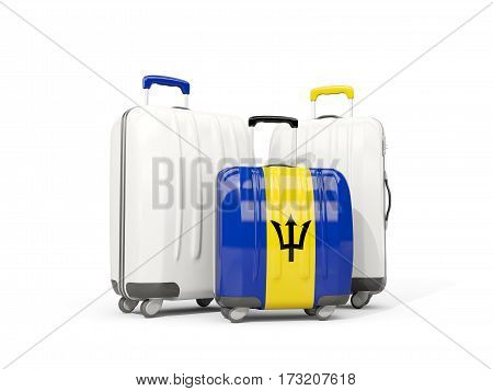 Luggage With Flag Of Barbados. Three Bags Isolated On White