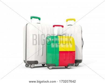 Luggage With Flag Of Benin. Three Bags Isolated On White