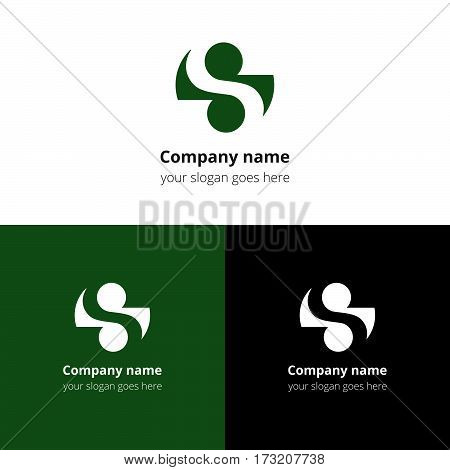 S logo, icon. The letter S in the green circle shape. Abstract logotype for business, company or service.