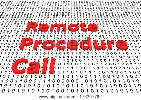 remote procedure call in the form of binary code, 3D illustration