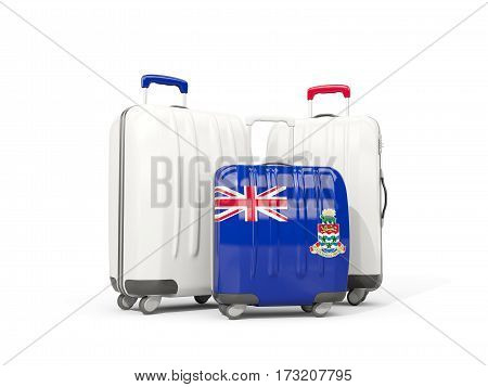 Luggage With Flag Of Cayman Islands. Three Bags Isolated On White