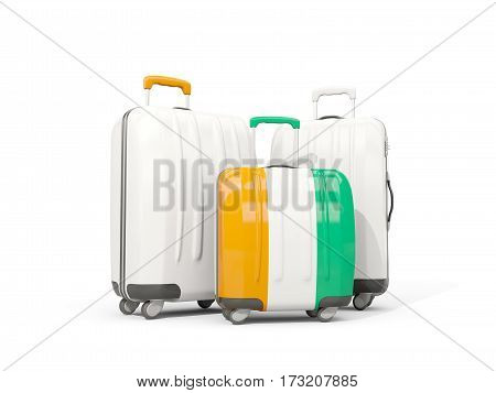 Luggage With Flag Of Cote D Ivoire. Three Bags Isolated On White