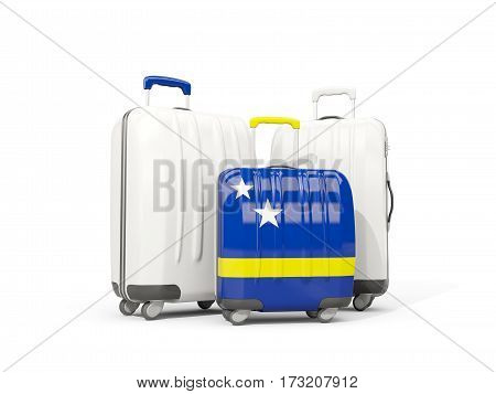 Luggage With Flag Of Curacao. Three Bags Isolated On White