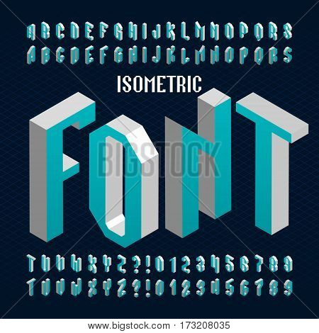 Isometric alphabet font. Type letters and numbers. Stock vector typography for your design.