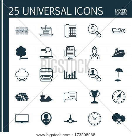 Set Of 25 Universal Editable Icons. Can Be Used For Web, Mobile And App Design. Includes Elements Such As E-Trade, Delete Woods, Mail Notification And More.
