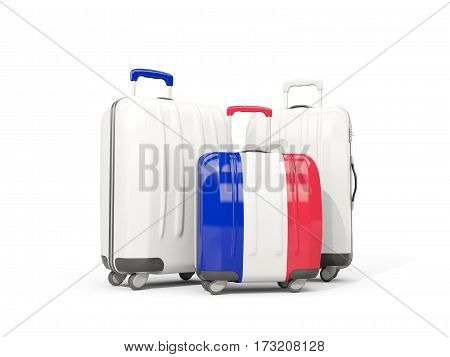 Luggage With Flag Of France. Three Bags Isolated On White