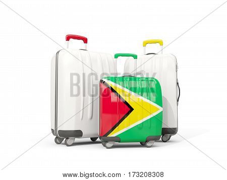 Luggage With Flag Of Guyana. Three Bags Isolated On White