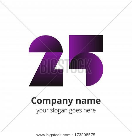 25 logo concept. Number twenty five, 2 and 5 purple logo icon.