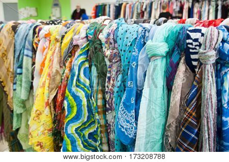 multicolored scarfs on the market for a background