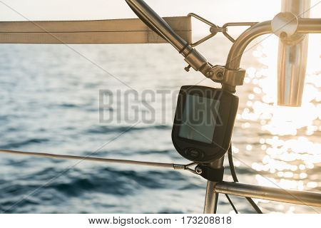 Nautical equipment: Marine boat fishfinder or sounder.