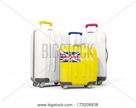 Luggage with flag of niue. Three bags isolated on white. 3D illustration poster