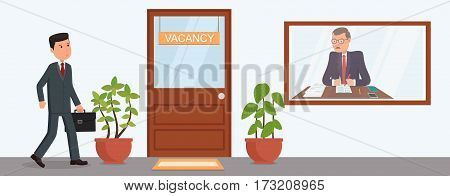Businessman goes a job interview. Search jobs. Businessman in the reception corridor.  Men in office.