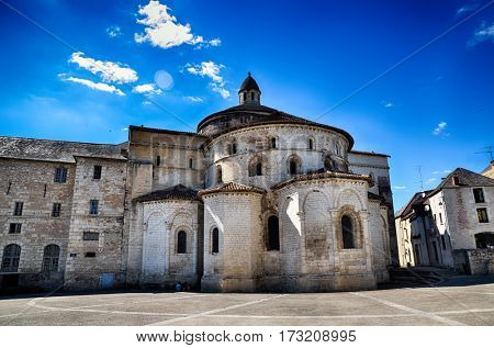 Abbey church of Sainte-Marie in Souillac, french tourist destination in the Lot region