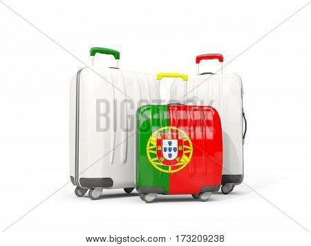 Luggage With Flag Of Portugal. Three Bags Isolated On White
