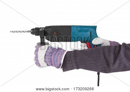 electric drill with handle isolated on white background