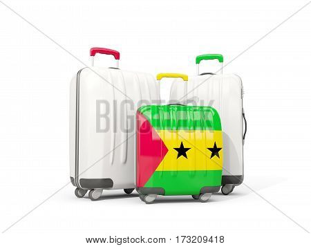 Luggage With Flag Of Sao Tome And Principe. Three Bags Isolated On White