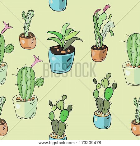 Seamless Pattern Of Hand Drawn Isolated Cacti And Succulents. Doodle Colorful Home Flowers In Pots I