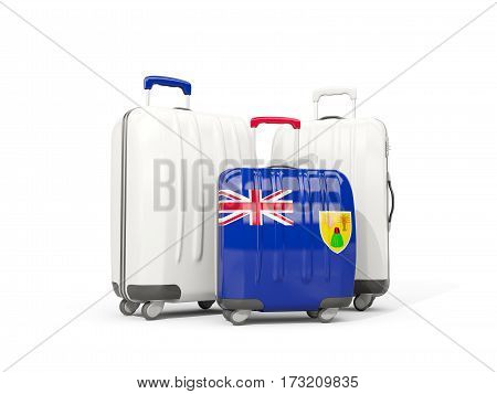 Luggage With Flag Of Turks And Caicos Islands. Three Bags Isolated On White