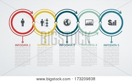 Infographic design template  with 5 step structure up arrow. Business success concept, pie chart lines.