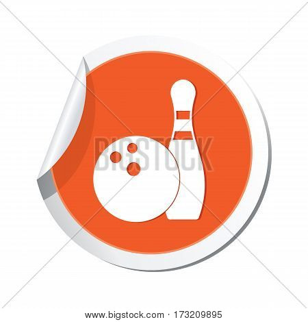 Orange sticker with bowling icon. Vector illustration