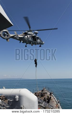 navy helicopter frigate boarding Special Forces training