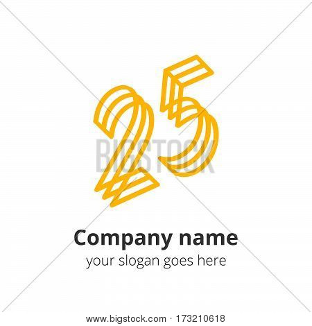 25 logo concept. Number twenty five, 2 and 5 yellow logo icon.