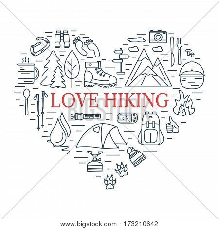 Outdoor line icons in the shape of heart. Hiking and camping love concept. Summer tourism items. Travel gear outline symbols with open paths.