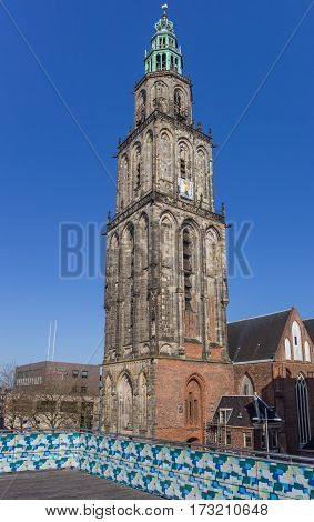 Martini Tower And Viewing Platform In The Center Of Groningen