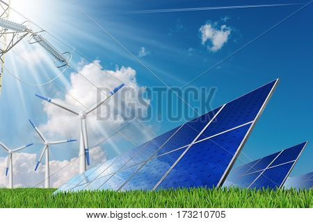 3D illustration of a group of solar panels wind turbines and a power line on a blue sky with clouds and sun rays. Solar and wind energy