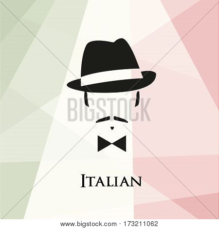 Italian with a mustache and bow tie. Against the background of the Italian flag