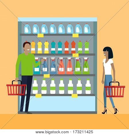 Consumers choice concept vector. Flat design. Household chemistry section in supermarket. Man and woman with baskets in hand choose products from store shelves. Illustration for sales and discounts ad