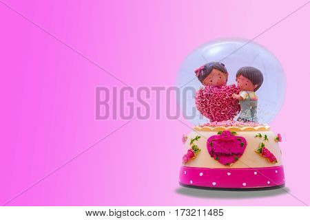 Statue Bride Couple In A Glass Isolated On Love Background(pink)