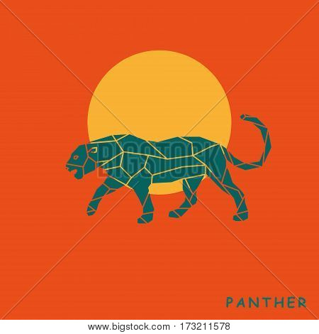 Triangle silhouette cheetah panther graphic. Vector illustration.